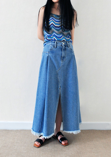 flare denim slit skirt