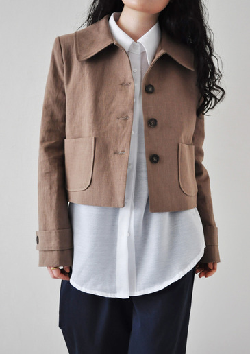 linen crop jacket(2color)