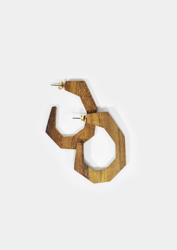 wood curve earring
