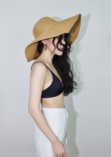 wide straw hat(2color)