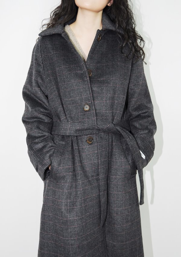 check vintage wool coat(2color)