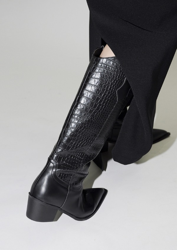 black Wstern long Boots(2color)