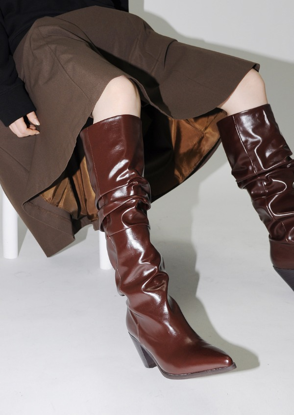 wrinkle long boots(2color)