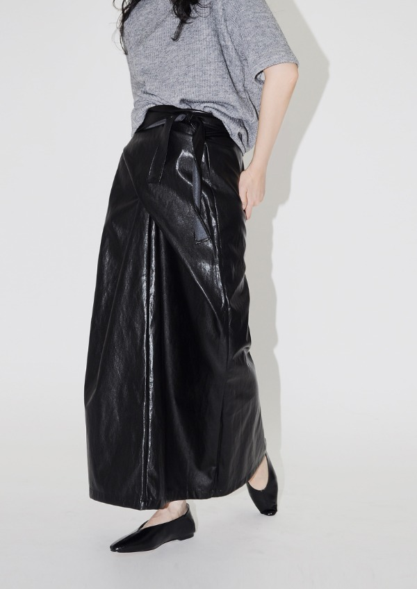 twist leather skirt(2color)
