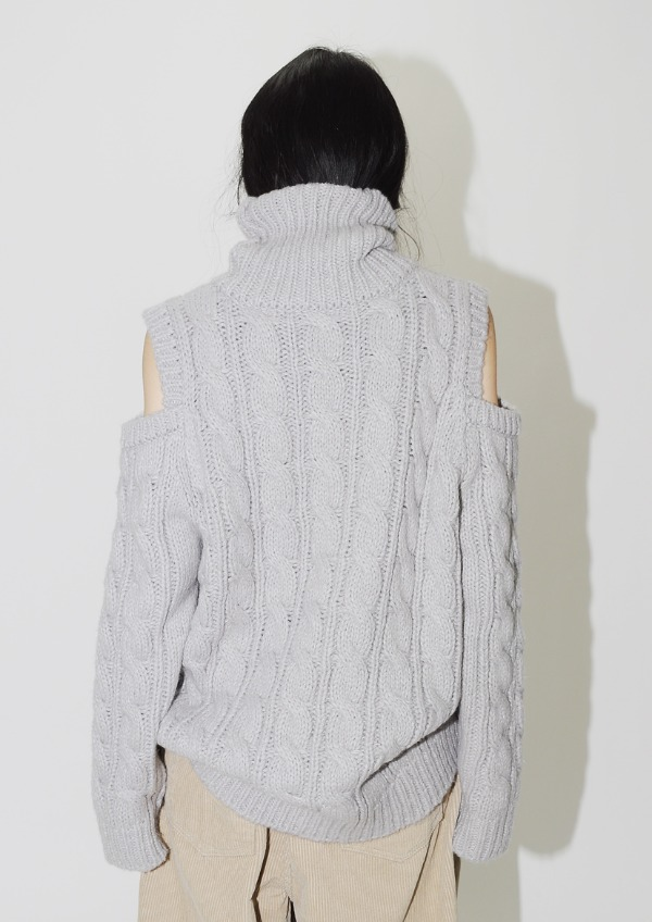 open shoulder turtleneck knit(3color)