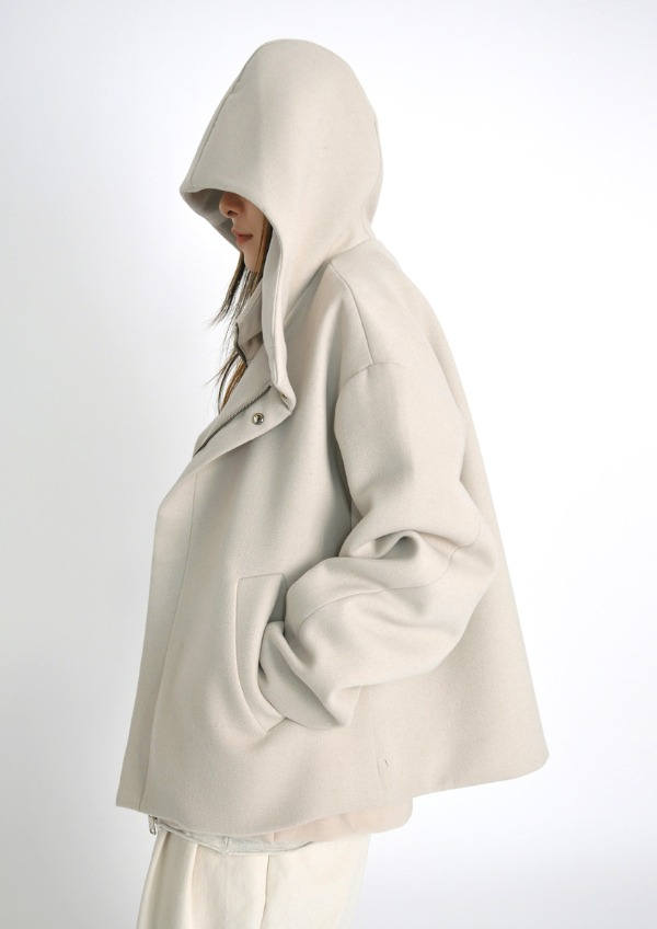 wool hood crop coat(2color)