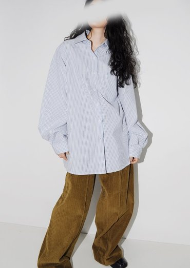 stripe twill shirt(2color)