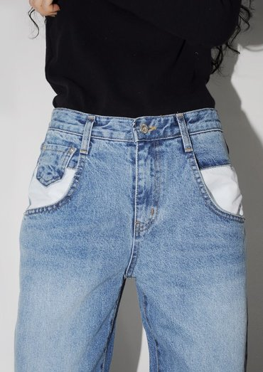 patch pocket denim pants(2color)