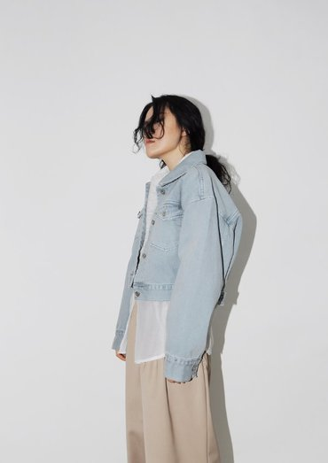 crop denim washing jacket(2color)