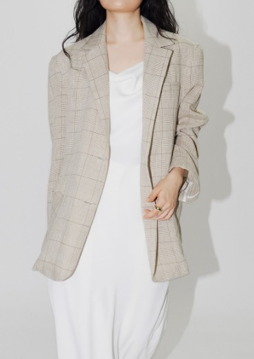 natural check linen jacket