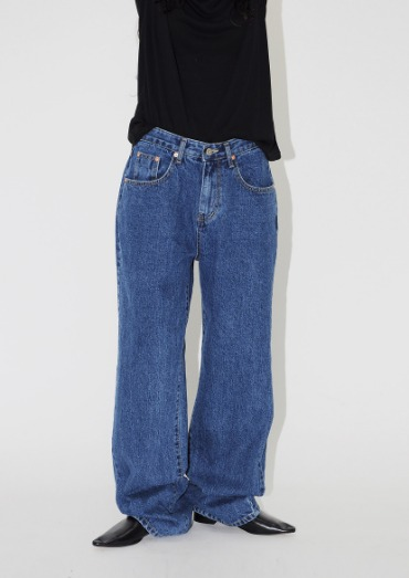 (unisex)over wide denim pants(2color)