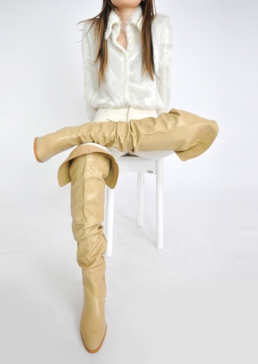 wrinkle knee high boots(5color)