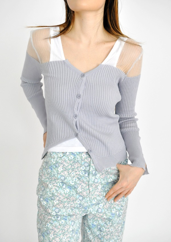 shoulder see-through cardigan(2color)