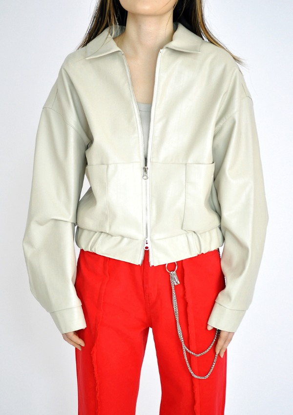 blouson leather jacket(3color)