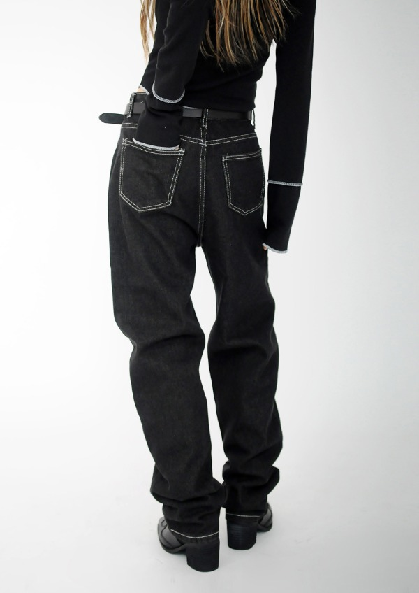 black stitch denim pants